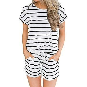 Short Sleeve Casual Loose Stirped Short Rompers